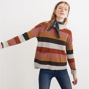 Madewell Patch Pocket Striped Colorful Sweater